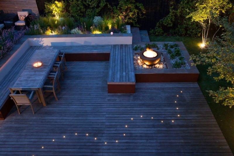 eclairage exterieur terrasse composite spots led vasque feu. Black Bedroom Furniture Sets. Home Design Ideas